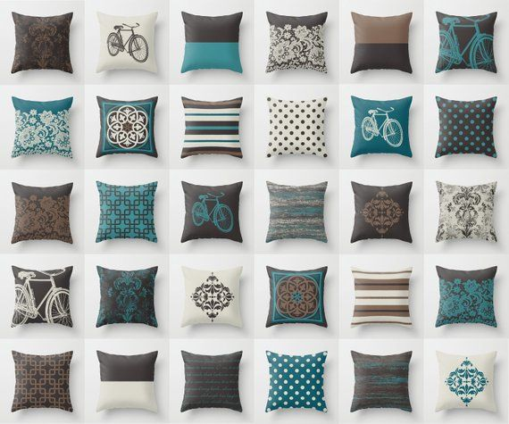 Teal Blue Brown Off White Throw Pillow Mix And Match Indoor Outdoor Cushion Cover Accent Brown Living Room Decor Brown And Blue Living Room Blue Throw Pillows