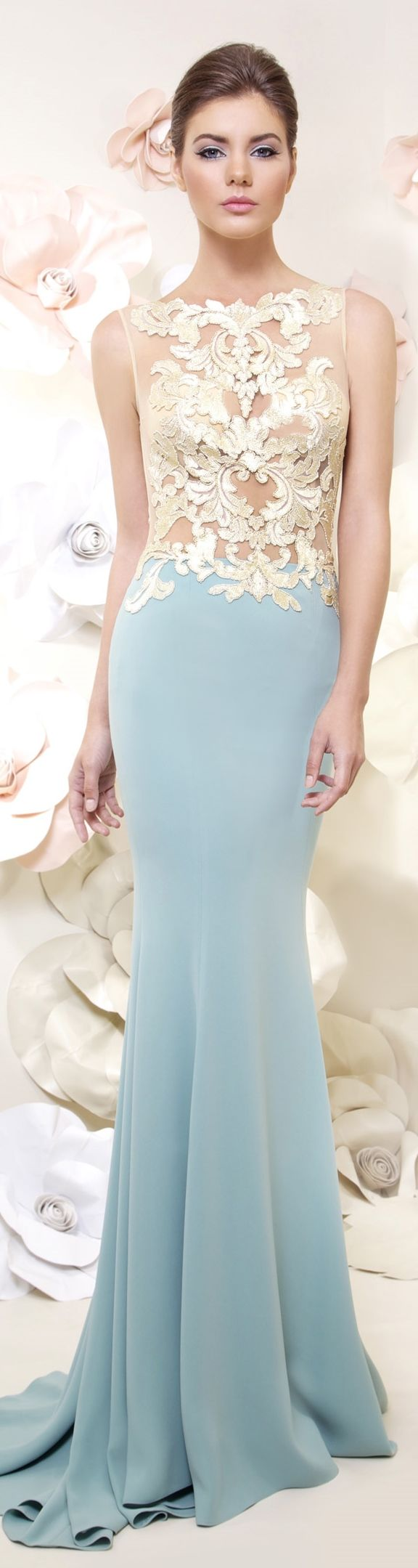 Light blue gold applique mermaid trumpet gown haute couture