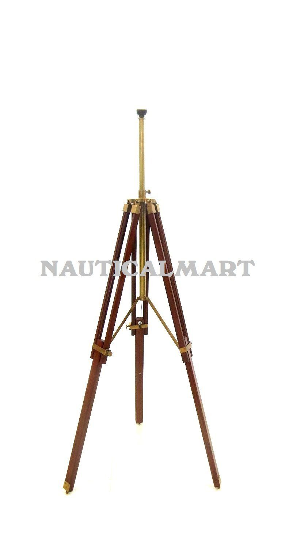 Nauticalmart Antique Brass Finish Wood Surveyor Tripod Floor Lamp Stand Amazon Co Uk Lighting Tripod Floor Lamps Tripod Floor Lamp