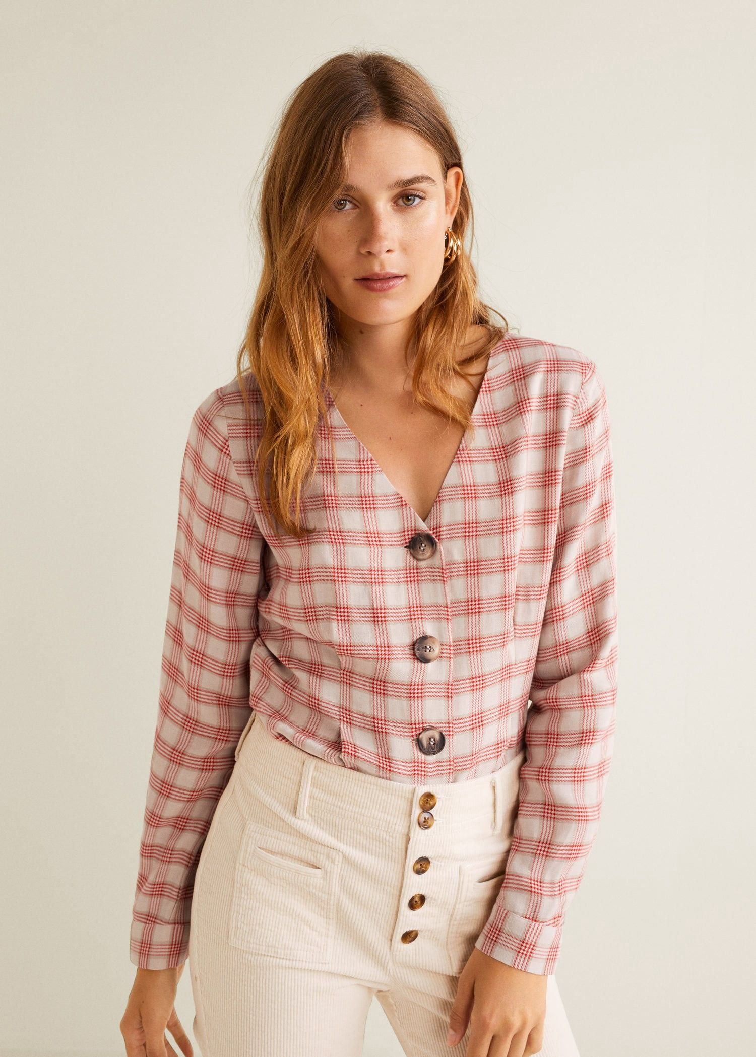 a04d2063423 Linen-blend check blouse by Mango in 2019