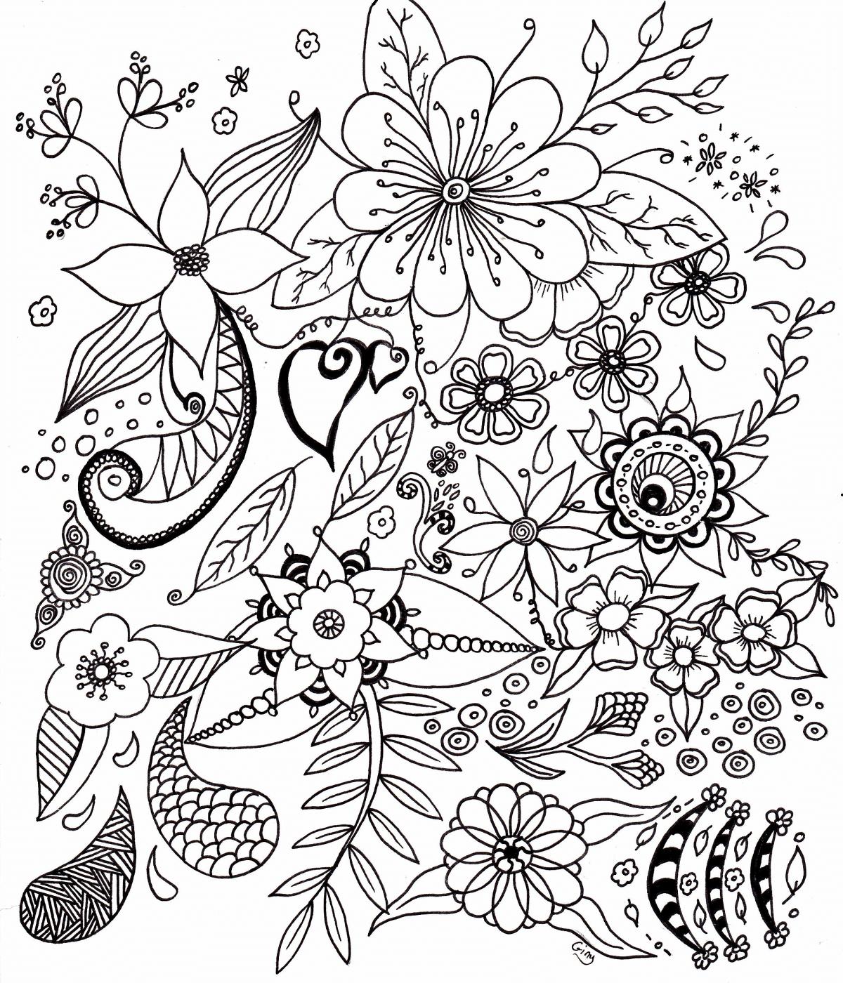 fleurs simples - coloriage pour adultes. D'autres coloriages disponibles sur www.coloriage ...