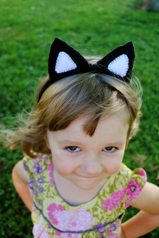 Stitched Black and White Cat Plush Ears. Cat plush, Cat