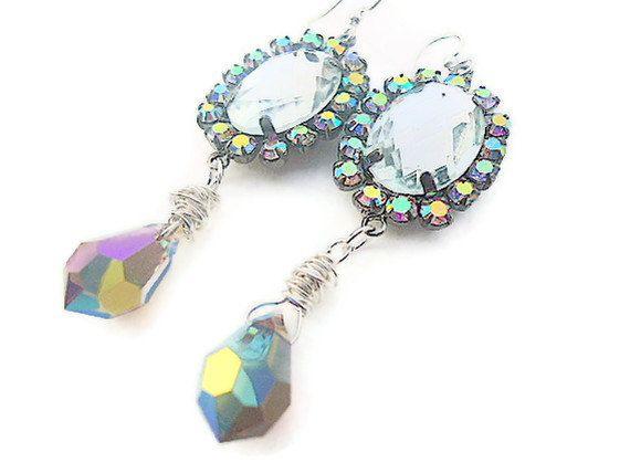 Victorian earrings  with sparkly swarovski by PoconoPrincessJewels