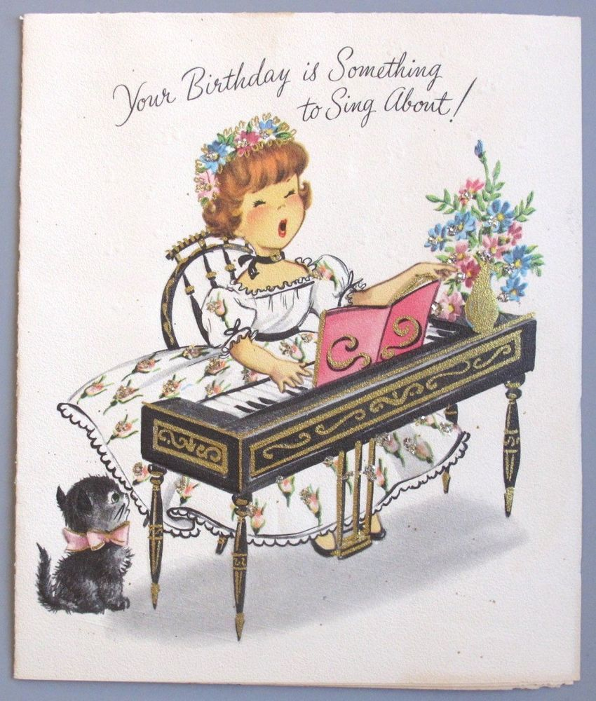 Vintage greeting card birthday lady girl singing piano kitten cat vintage greeting card birthday lady girl singing piano kitten cat pollyanna bookmarktalkfo Images