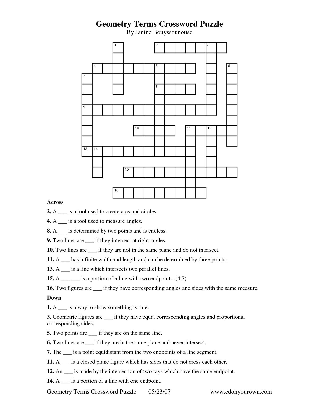 Geometry Terms Crossword Puzzle