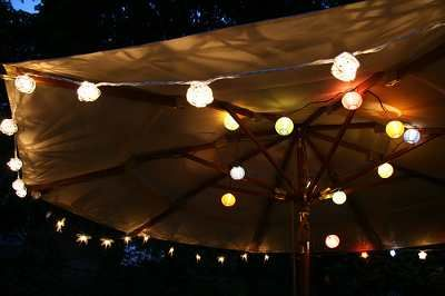 Outdoor String Lights Under A Large Umbrella Giving Light To The Evening Sky