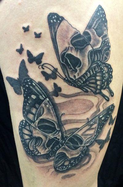 skull butterfly tattoo by timetotakeback tattoo ideas pinterest rh pinterest com sugar skull with butterfly tattoo skull with rose and butterfly tattoo