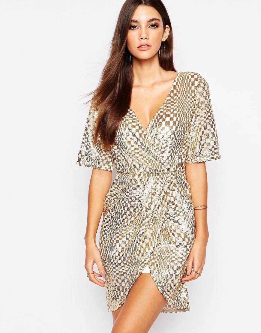 TFNC Kimono Sleeve Sequin Dress with Wrap Skirt --- €78.20 ...