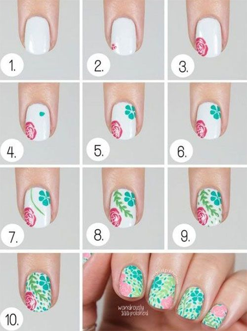 15 Easy Spring Nails Tutorials For Beginners Learners Floral Nails Tutorial Floral Nail Art Nail Art Tutorial