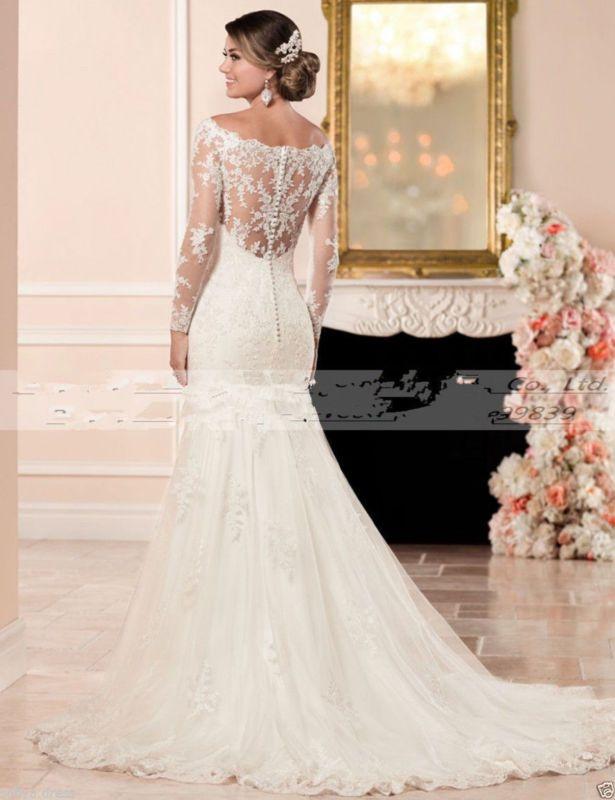 Vestido de novia Sirena Encaje Blanco/Marfil Vestido de boda vestido ...