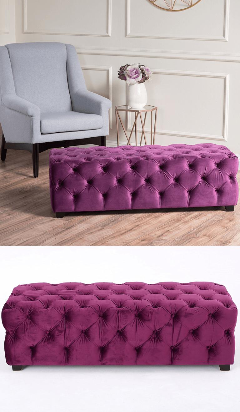 Purple Tufted Velvet Fabric Ottoman Bench Purple Bedroom Decor