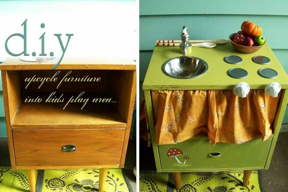 From end table to kids play kitchen
