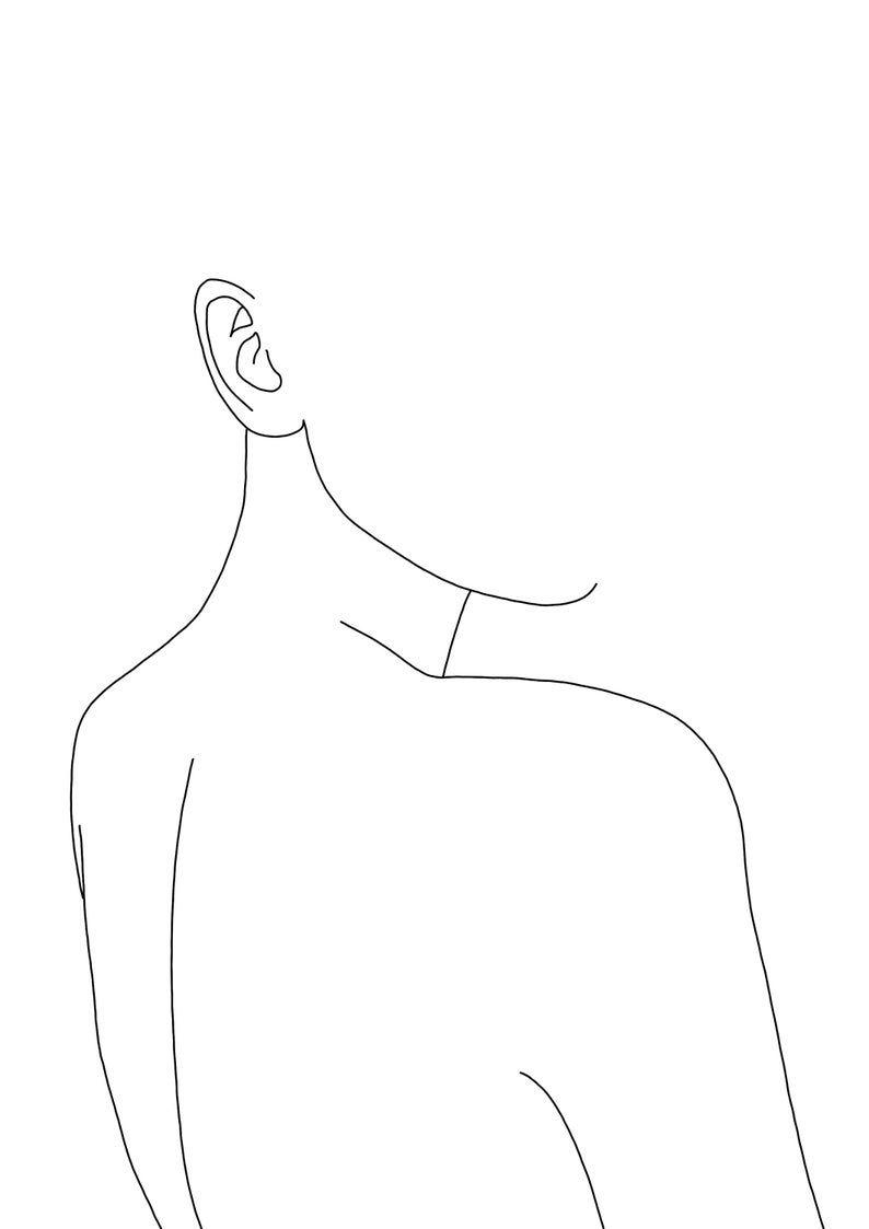 Art print – Minimal line drawing of woman's back – Figurative art – Black and white illustration – Minimalist art