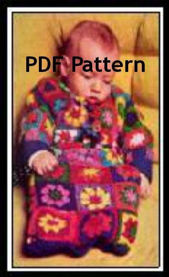 Vintage Granny Sq Baby Bunting Afghan Blanket Pattern Digital ...