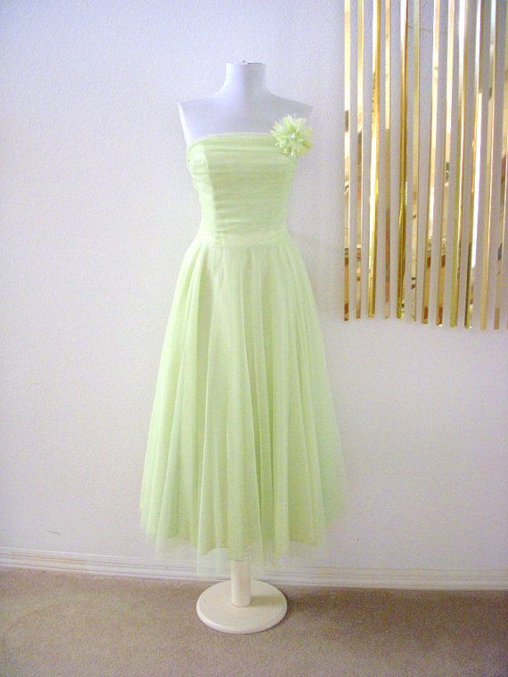 Vintage Mint Green Party Dress - Strapless Chiffon Pastel Green Prom ...