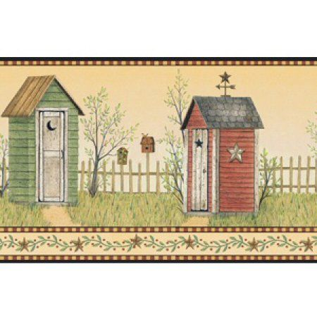 Country Outhouse Wall Border Mustard Red Green Brown Walmart Com Wallpaper Border Country Bathroom Decor Wall Borders