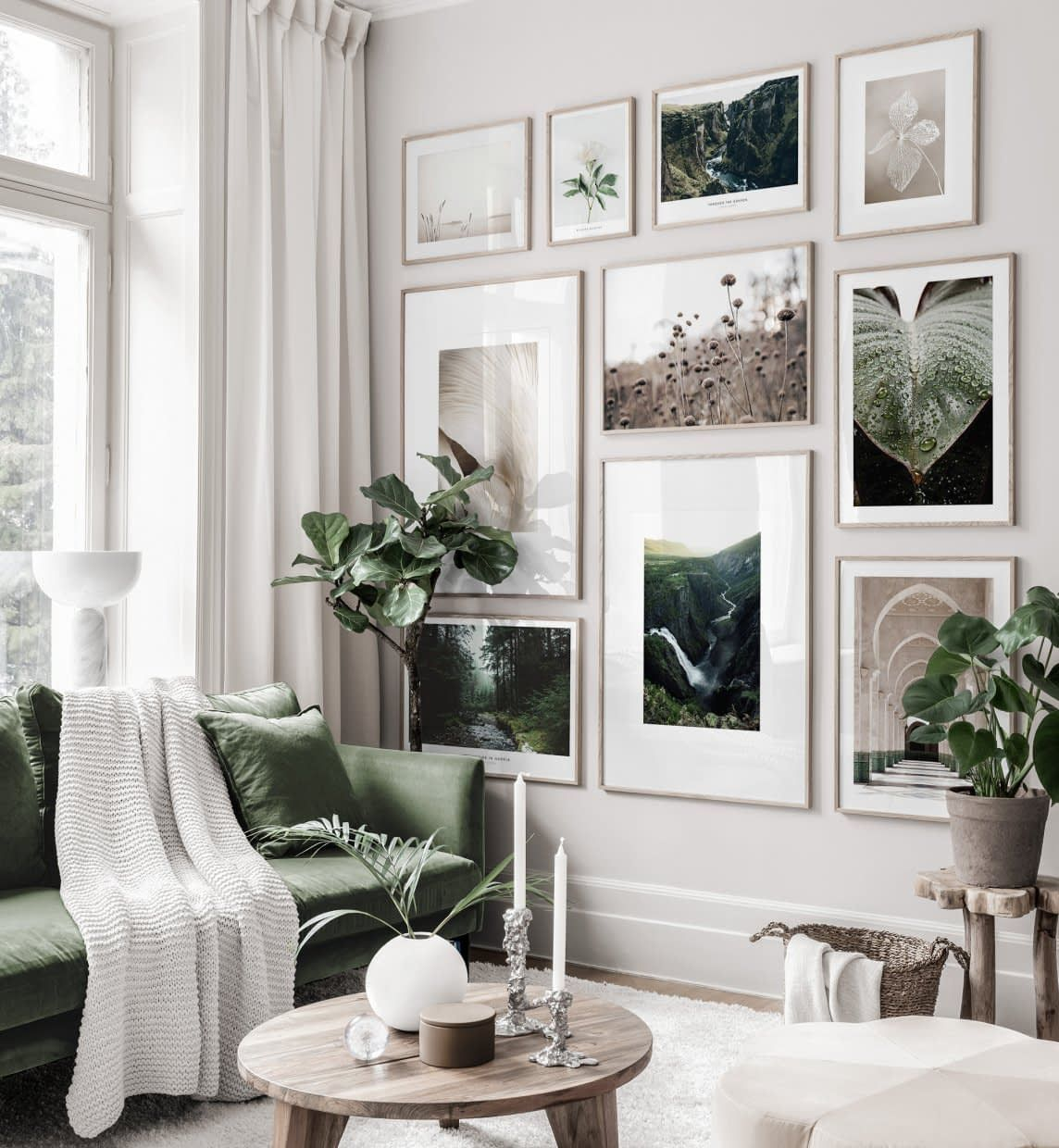 Soothing Gallery Wall In Brown Green Tones With Nature Posters In Oaken Frames In 2020 Gallery Wall Living Room Gallery Wall Bedroom Gallery Wall Inspiration