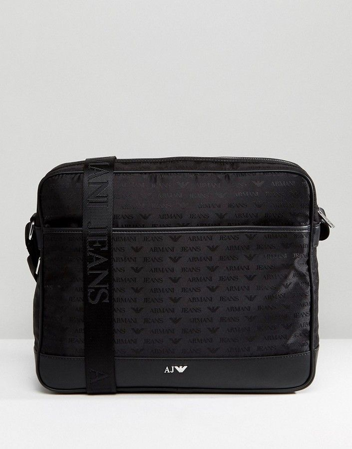 19b5eba94e2 Armani Jeans Nylon All Over Logo Messenger Bag in Black   Messenger ...