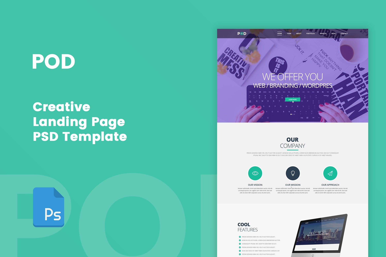 POD - Creative Landing Page PSD Template #psd, #template, #website