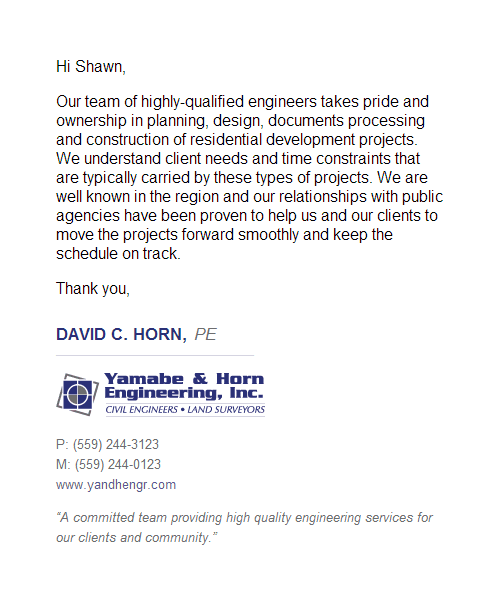 Yamabe Horn Engineering Inc Email Signature Design