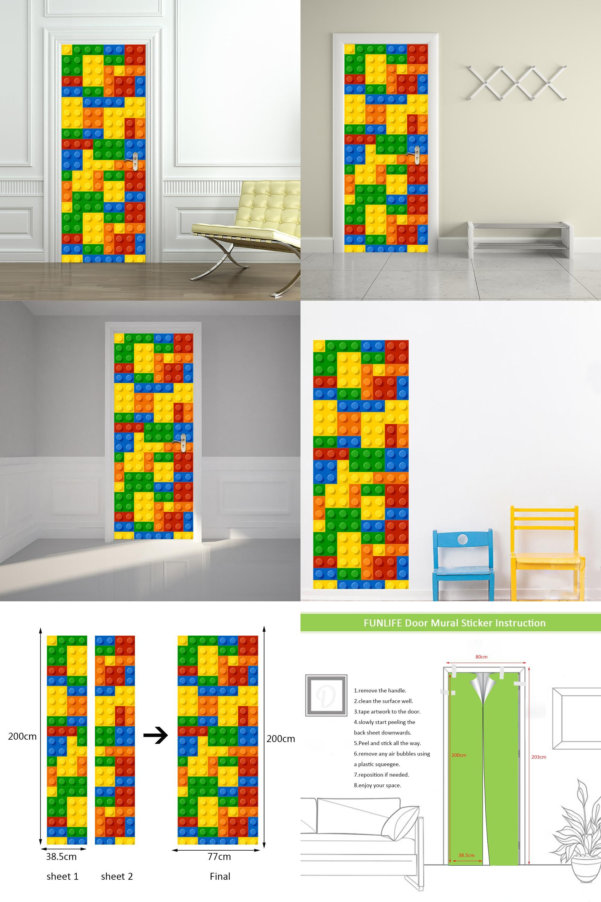visit to buy] children lego building module door stickers bedroom