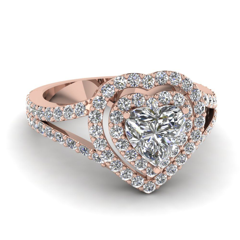 6ca4d0d64cd19 Heart Diamond Double Halo Ring in 2019   Rose Gold Engagement Rings ...