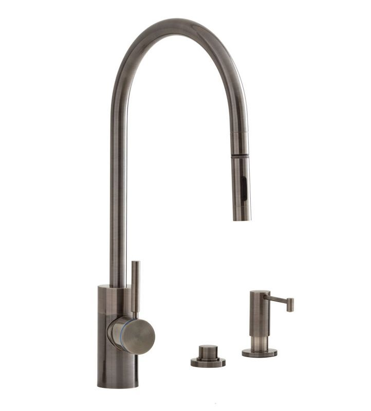 Pewter Kitchen Faucet Cost Of Island Waterstone 5300 3 Parche Single Handle With Pull Out Spray Soap
