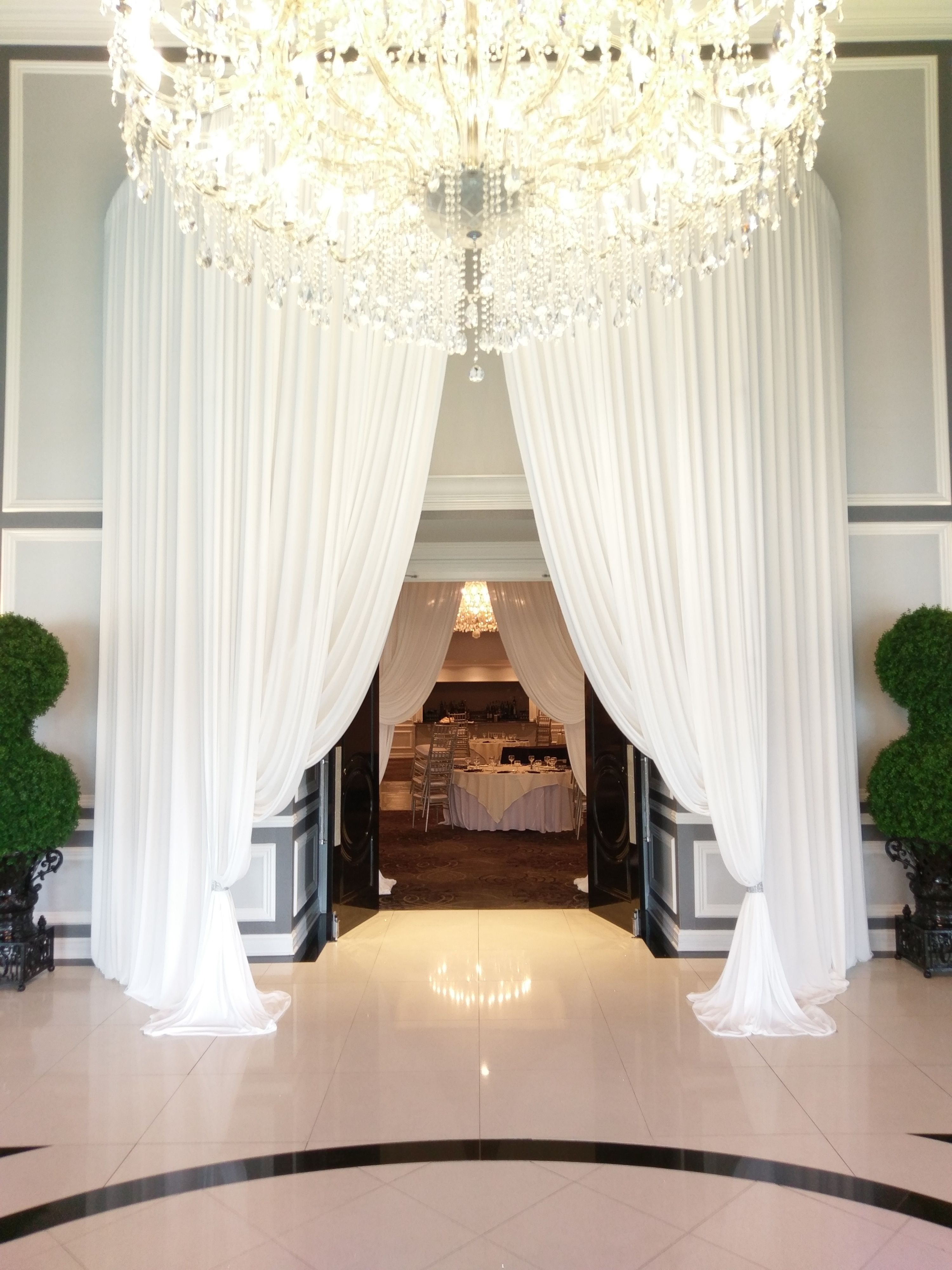 White Grand Entrance Draping Decorating Services Event Decor Wedding Decorations