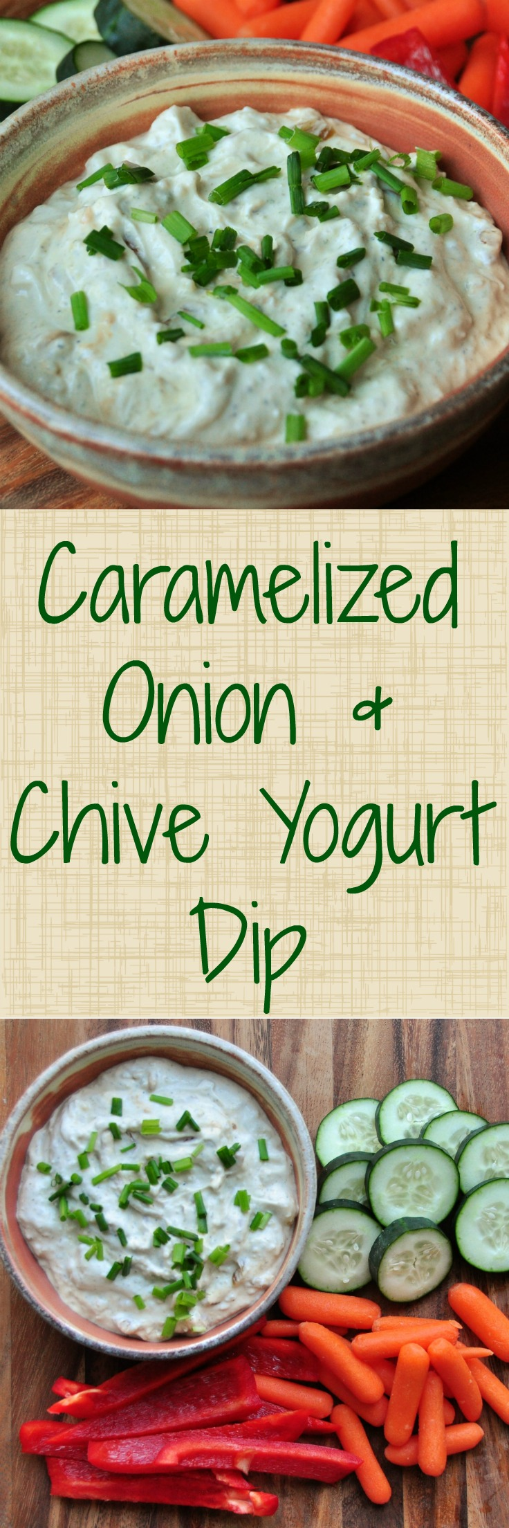 Yogurt dip with caramelized onions and chives.  Perfect with chips or veggies! #sponsored @stonyfield @simplyorganic