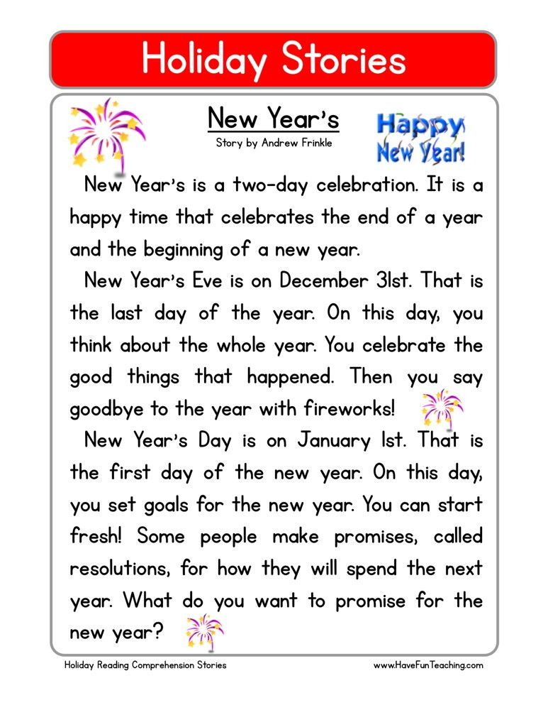 Reading Comprehension Worksheet - New Year\'s | English | Pinterest ...