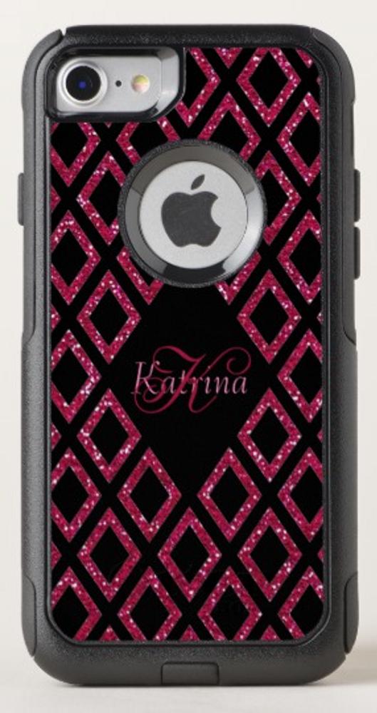 Pink Glitter Black Pattern Personalized OtterBox iPhone