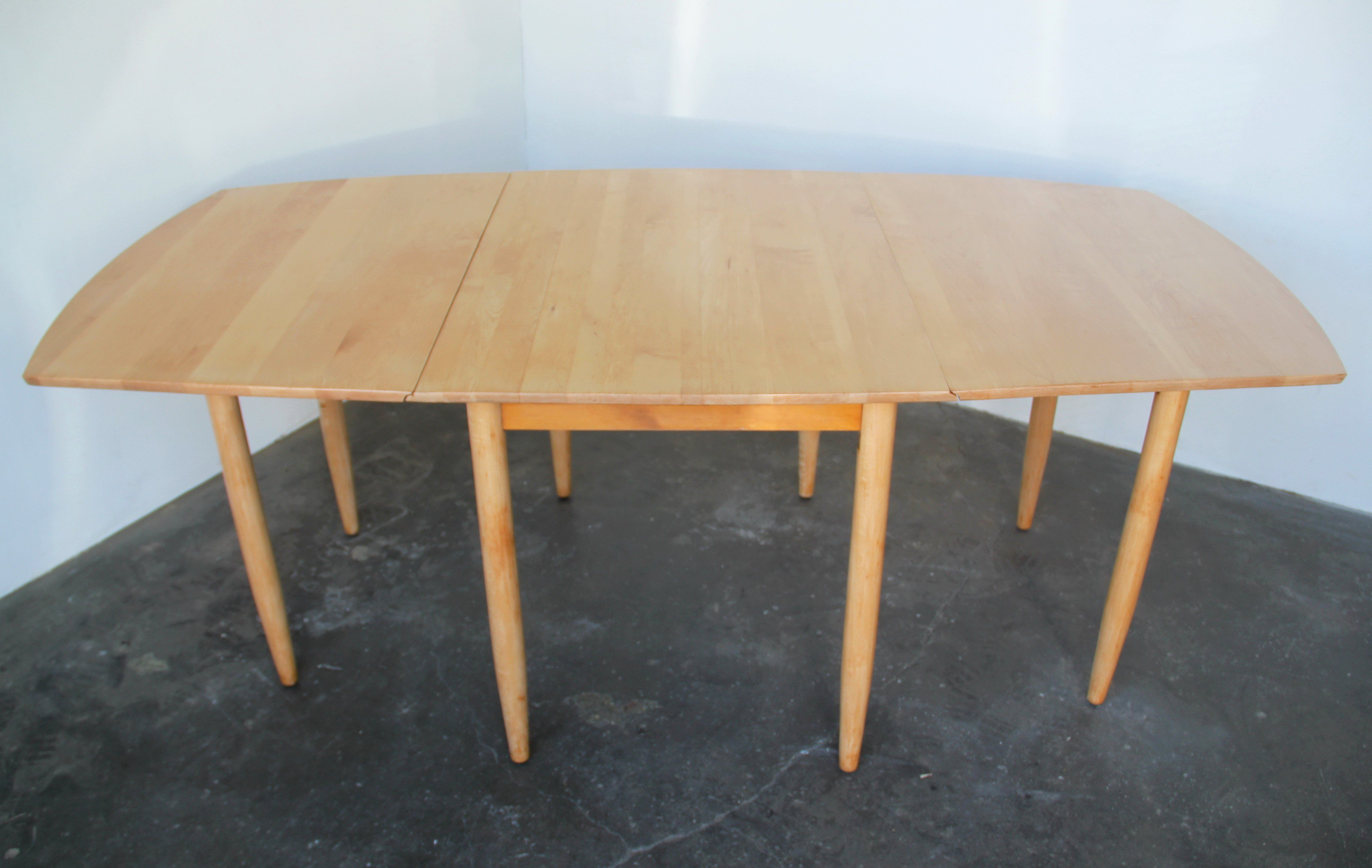 Solid Maple Drop Leaf Dining Table By Russel Wright For