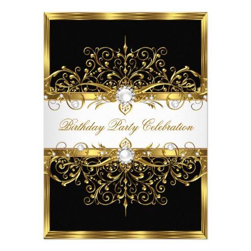 pearls black white gold elegant birthday party invitation in 2018