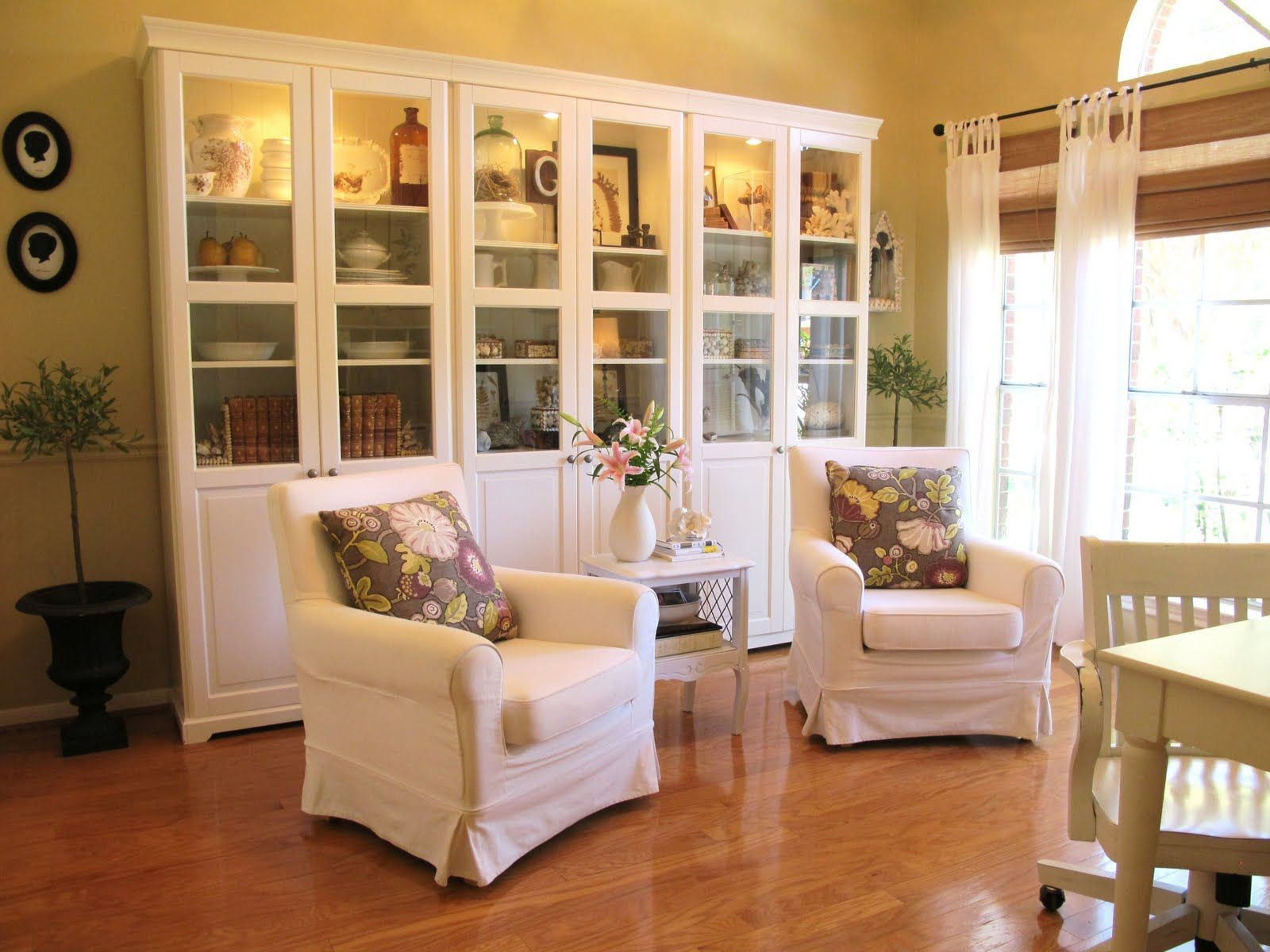 Benjamin Moore Monroe Bisque w white dove cabinets formal living