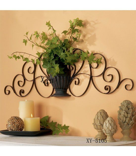 home decor metal wall decor iron plant holder iron wall holder in candle holders from - Wall Decorations