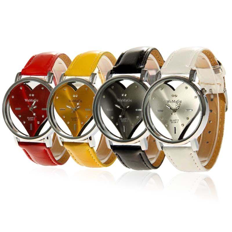 Hollow Heart Shape Dial PU Band Womens Crystal Rhinestone Wrist Quartz Watch
