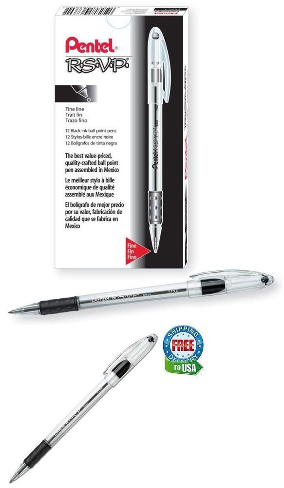 Pentel R.S.V.P. Ballpoint Pens Fine Point 0.7 mm Clear Barrel Blue Ink Pack  of12 by Office Depot & OfficeMax