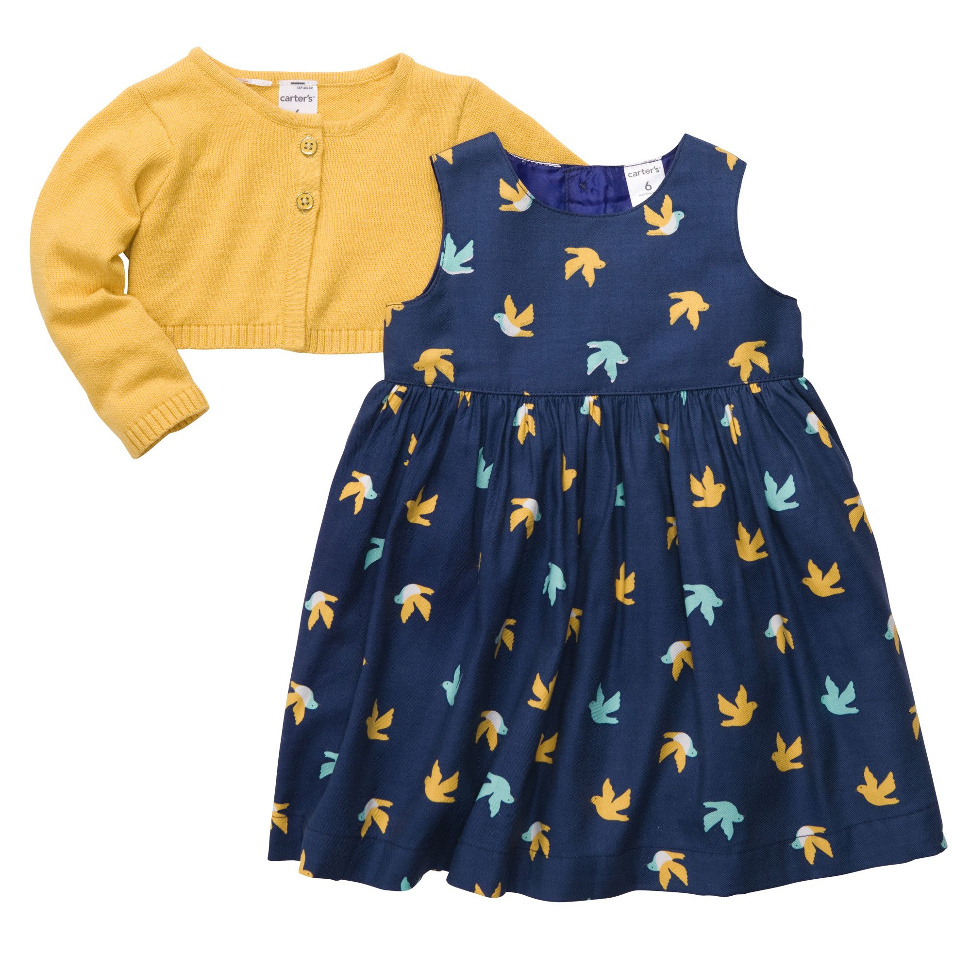 3-Piece Cardigan Dress Set | mustard and navy | Baby Girl Up to 50 ...