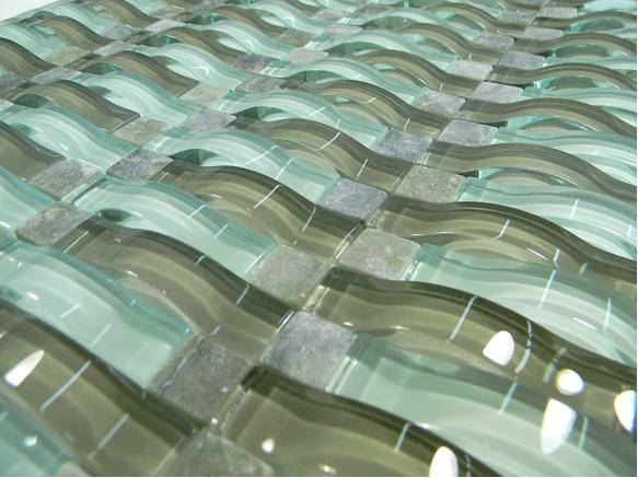 Verde Blend Wavy 3d Glass Mosaic Tiles Kitchen Bathroom