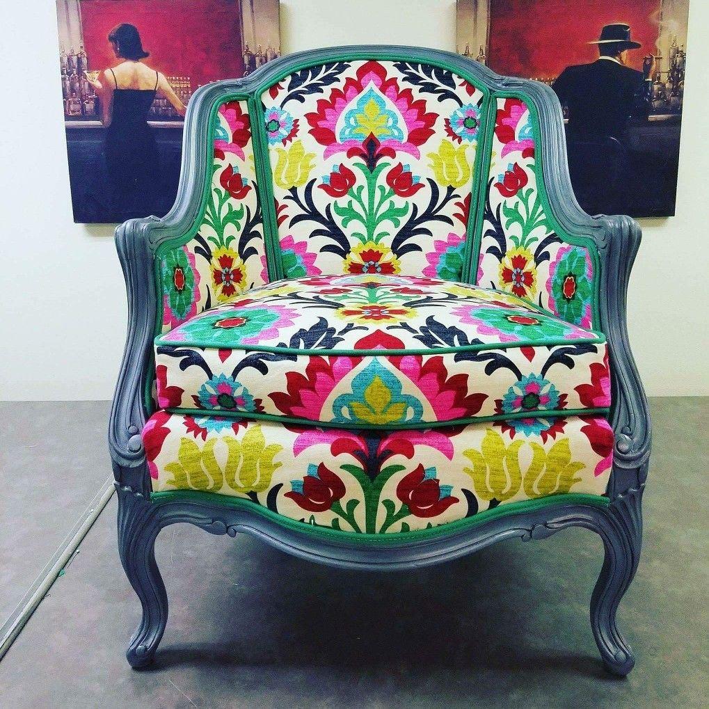 Custom French Provincial Chair In Waverly Santa Maria Desert Flower