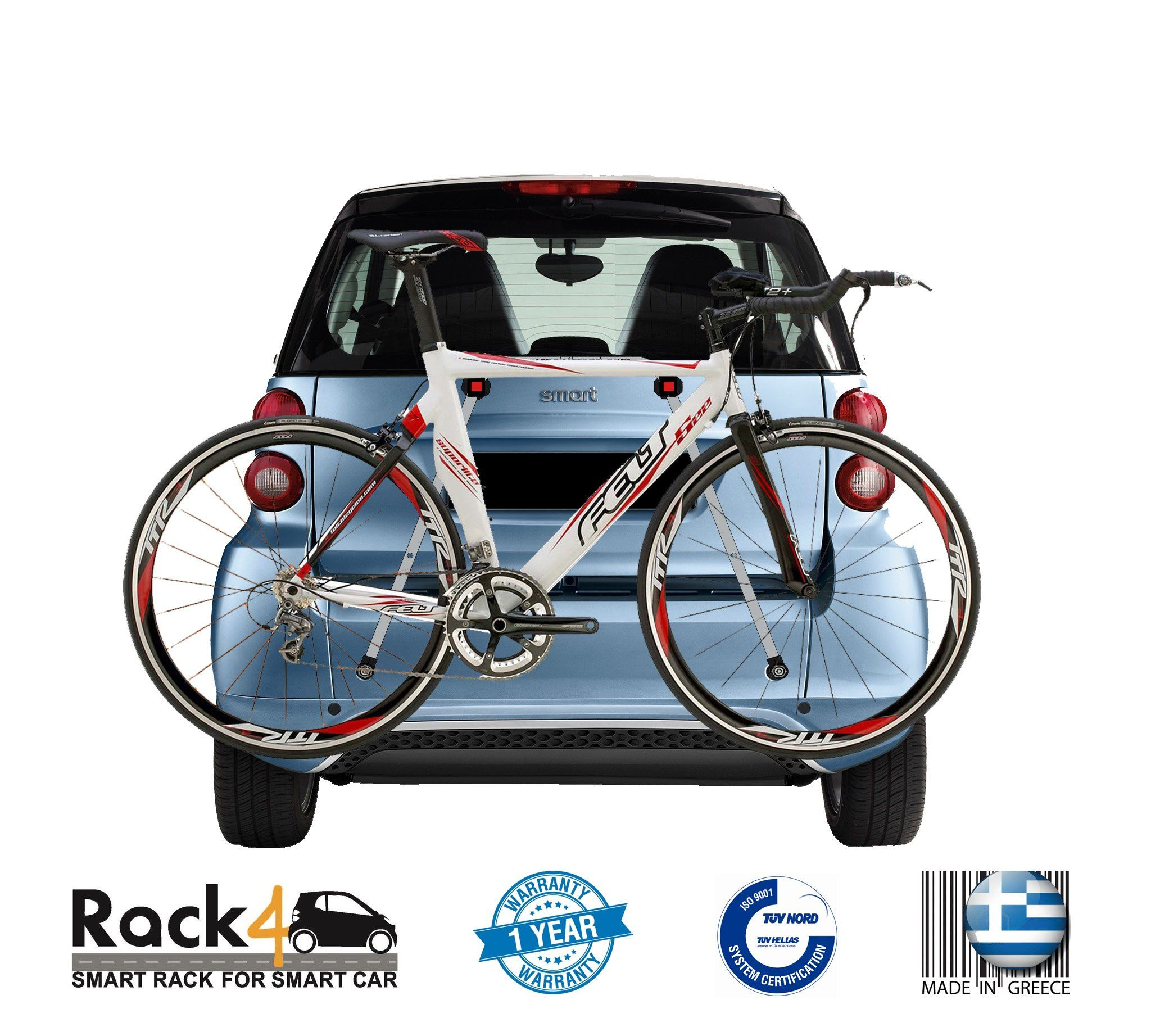 2 Bicycles Rack For Smart Fortwo 451 Cabrio Coupe Black By