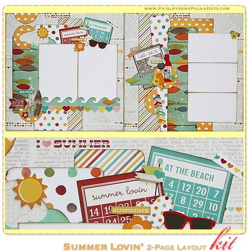 Summer Lovin' PaisleysandPolkaDots.com Scrapbook Layout Kit complete with instructions (featured at scrapclubs.com)