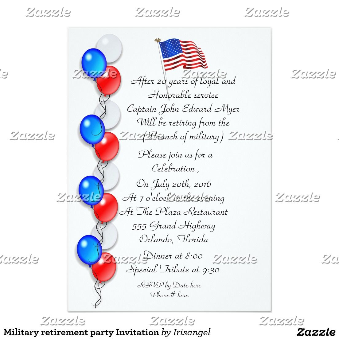 Military retirement party Invitation | Military retirement party ...