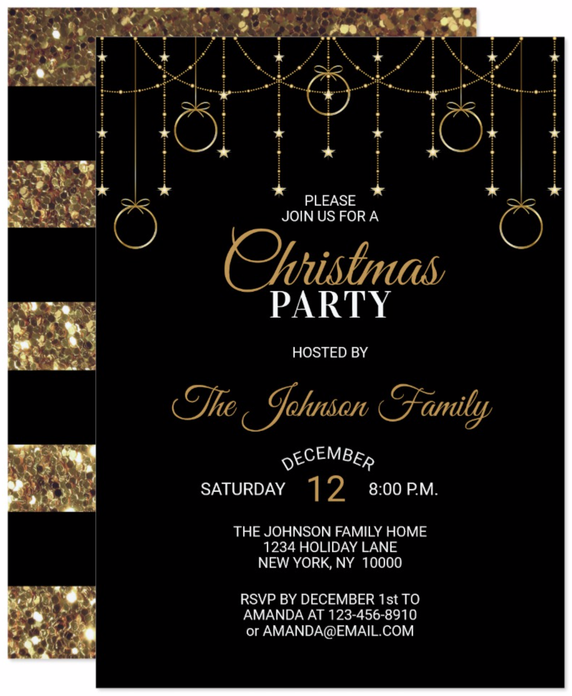 Christmas Party Black Gold Glitter Stars Invitation Gold Glitter Stars Black Gold Party Modern Christmas Party