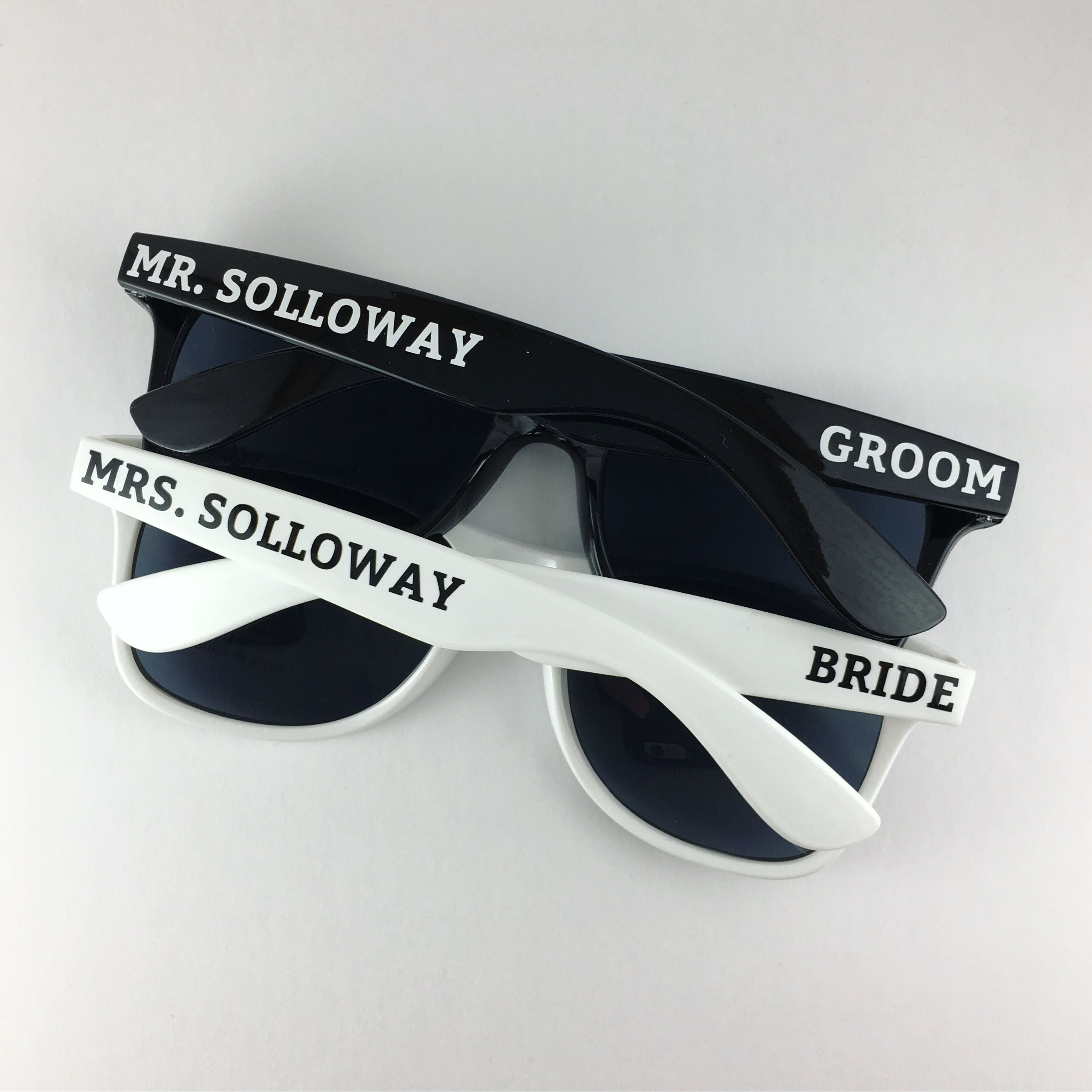 Bride and Groom Personalized Sunglasses, Set of 2, Wedding Favor ...