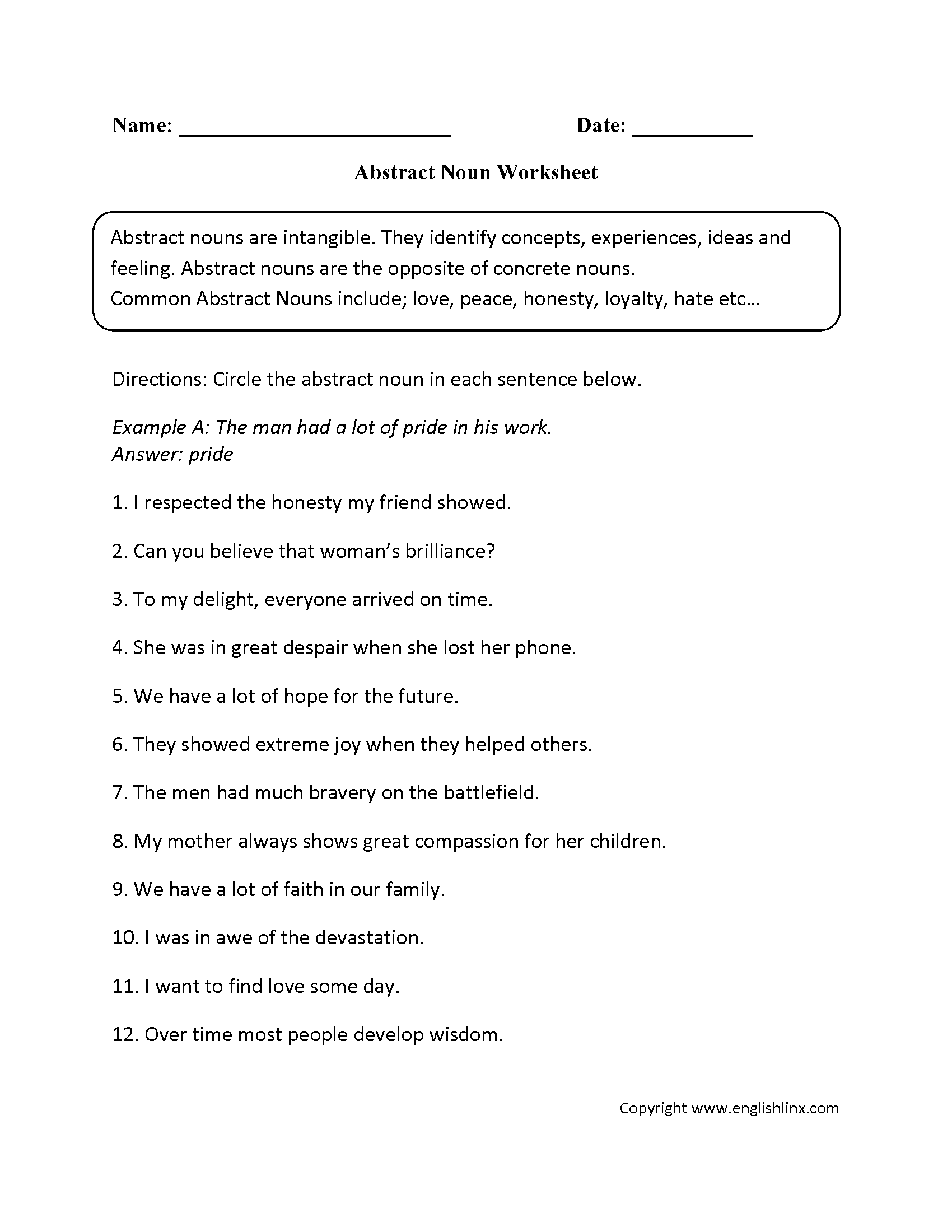 Abstract Noun Worksheet