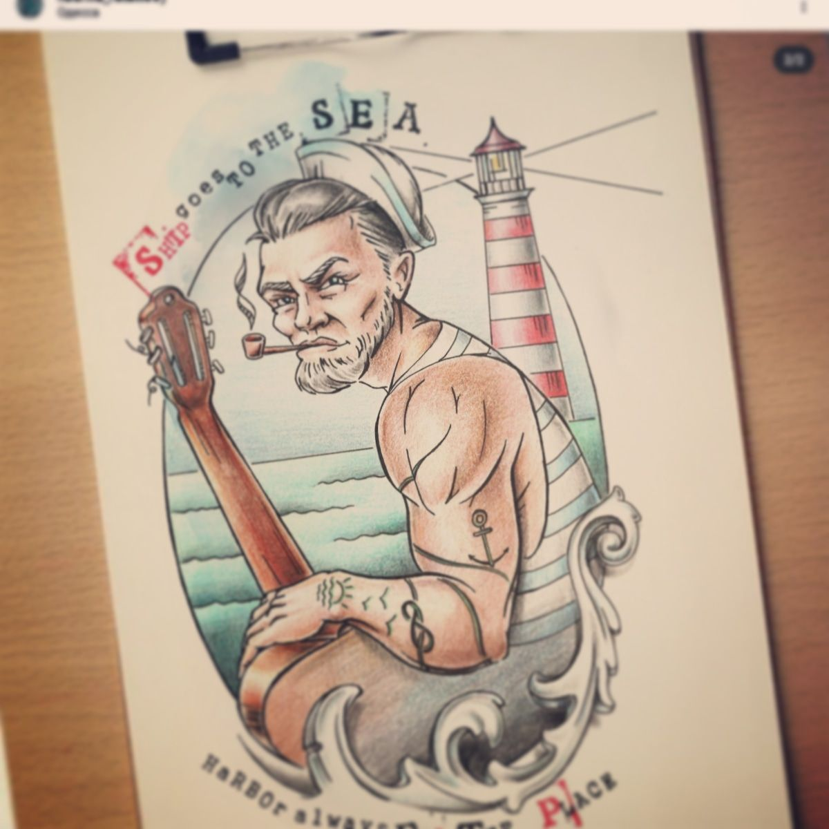 sailor | tattoo | old school | sketch | tattoo design | ideas tattoos | lighthouse | seaman | sea | odessa