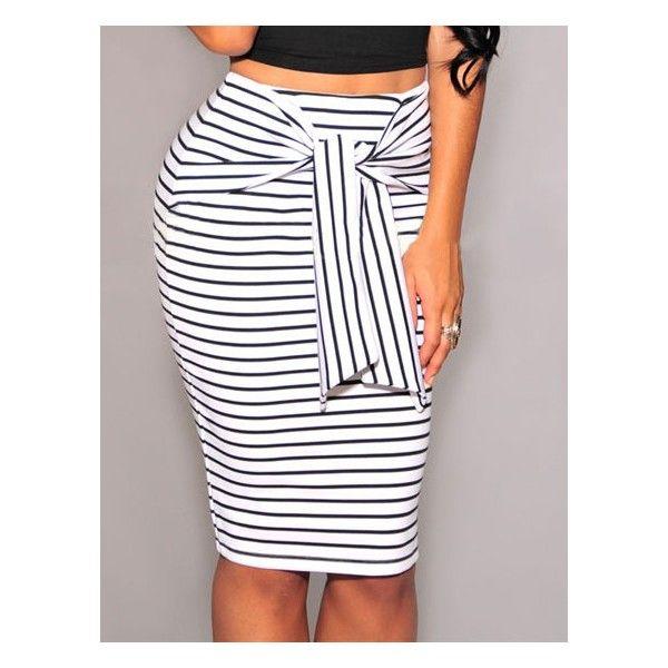 e5b395b3a Falda blanca con rayas negras | outfits | Falda modelo, Faldas ...
