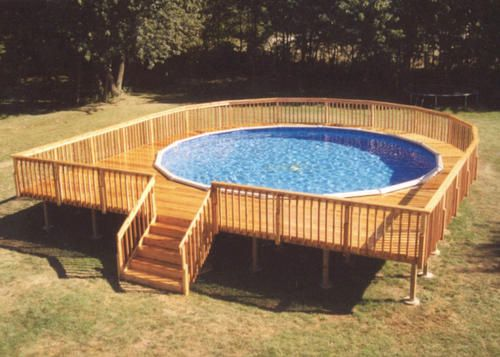 34 39 x 37 39 walk around pool deck for a 27 39 pool gardening for How to build a wood deck around a round pool