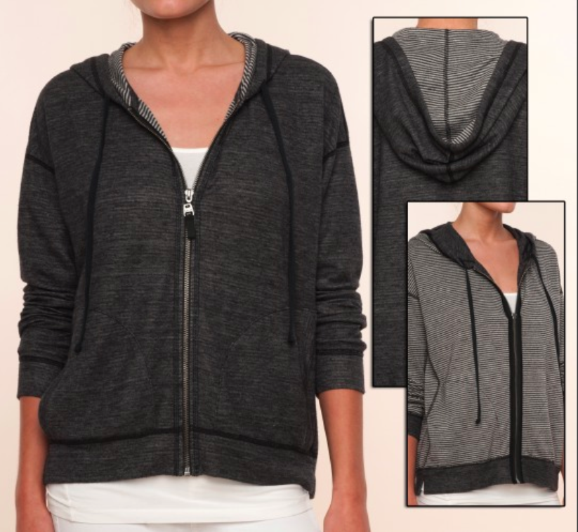 Embrace off duty sports luxe with this amazing reversible mini stripe hoodie from Splendid